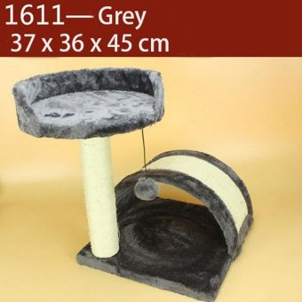Domestic Delivery Pet Cat Climbing Frame Animal Puppy Double LayersCat Tree Cat Scratching Pet Training Board(1611_Grey) - intl