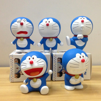 Doraemon garage kit toy car mounted model doll