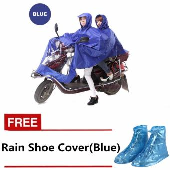 Double 2-Person Waterproof Motor Raincoat (Blue) with FREE RainShoe Cover (Blue)