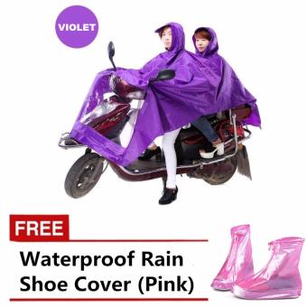 Double 2-Person Waterproof Motor Raincoat (Violet) with FREEWaterproof Rain Shoe Cover (Pink)
