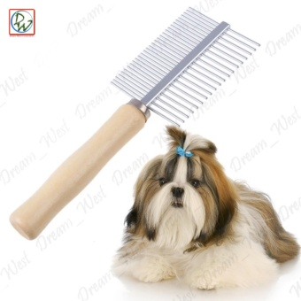 Double Sided Stainless Steel Dog Cat Comb (Stainless Steel/Brown)