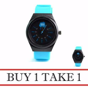 Dream Silicone Strap Watch for Men (Blue) Buy 1 Take 1
