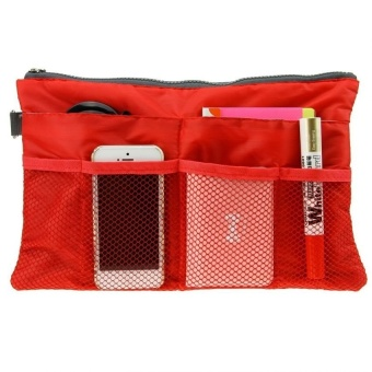 Dual Bag Organizer (Red) With Free Free Security Credit Card Wallet(Silver)