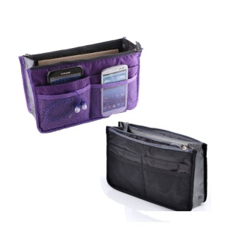 Dual Bag Organizer Set of 2 (Black/Violet) with Free Digital GadgetDevices Cable Pouch (COLOR MAY VARY)