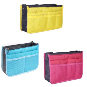 Dual Bag Organizer Set of 3 (Yellow/Light Blue/Pink)