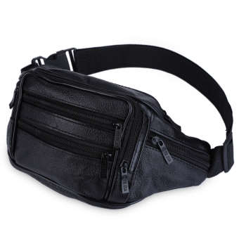 Dumpling Leather Sport Business Zipper Waist Bag for Men (Black) - intl