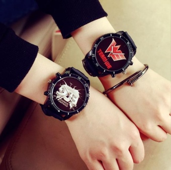 DZ-set of two-South wind neutral large dial Harajuku leisurestudents cool chaobiao Korean fashion young couple watches (black)-LED EDG - intl Price Philippines