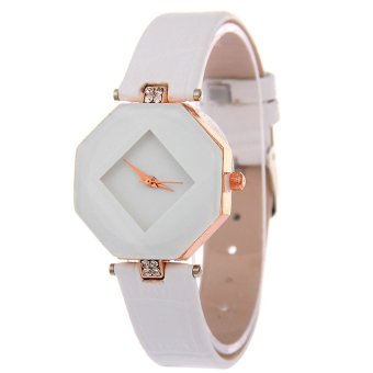 E&E Diamond Fashion Women White Leather Strap Watch SY-24