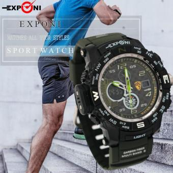 E&E Exponi-3252 Men PU Strap Backlight Waterproof Sports Dual time Watch Price Philippines