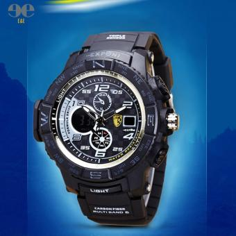 E&E Exponi-3252A Men PU Strap Backlight Waterproof Sports Dualtime Watch