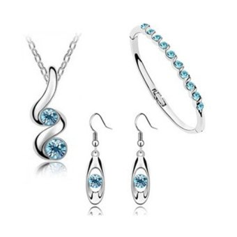 E&E HHZF-T3 Buds Austrian Crystal Accessories Necklace+ Bracelet +1 Pair Earrings Jewellery Sets(Blue)