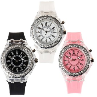 E&E Luminous Rhinestone Women's Black/White/Pink Silica Gel Strap Watch MS-1 Set of 3