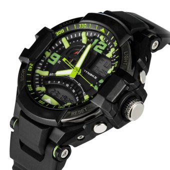 E&E SNK-67876 Men's Multifunctional Diving Waterproof 50MDigital LED Outdoor Sports Rubber Strap Watch Gift Set (Green) - 5
