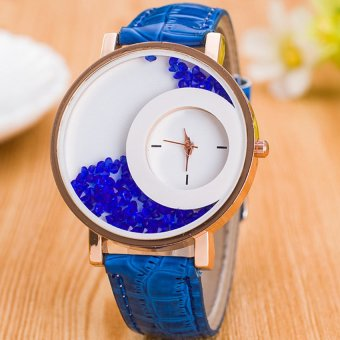 E&E Stylish Fashion Women Blue Leather Strap Watch SY-18