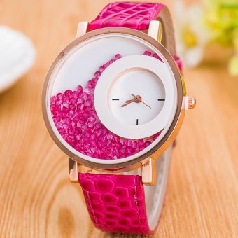 E&E Stylish Fashion Women Hot Pink Leather Strap Watch SY-18