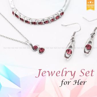 E&E T3 Buds Austrian Crystal Accessories Necklace+ Bracelet +1 Pair Earrings Jewellery Sets