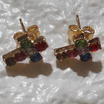 Earring with Cross Faith design with Gems stone hypoallergenic