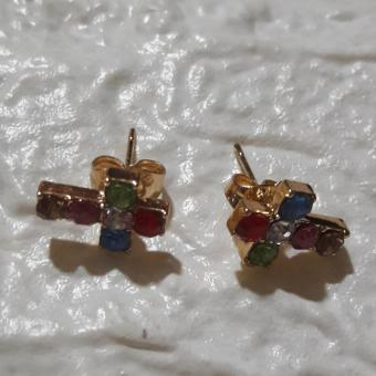 Earring with Cross Faith design with Gems stone hypoallergenic - 2