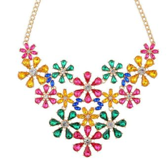 Ebay x364 European and American luxury gem flower decorative necklace