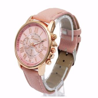 EK17 Free Box Geneva Women's Roman Pink Leather Strap Watch