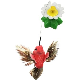 Electric Artificial Bird Toy Flying Around Style Interactive Pet Cat Toys 360 Degree Rotating for Encouraging Hunting Instincts Random Color - intl