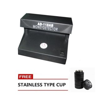 Electronic Fake Money Detector (Black) with Free Stainless SteelCup