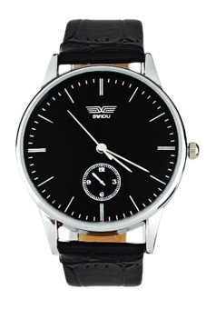Electronic Leather Black Mens Watch