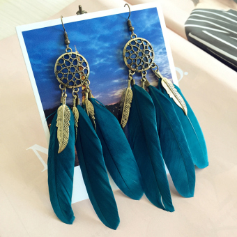 Elegant Bohemian seaside style feather earrings