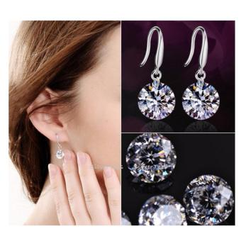 Elegant Ladies Silver Plated CZ Drop Earrings Cubic Zirconia 8mm - 2
