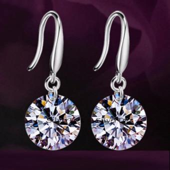 Elegant Ladies Silver Plated CZ Drop Earrings Cubic Zirconia 8mm