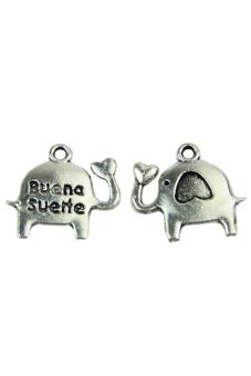 Elephant Silver Tone Pendants Necklace (Silver) (Intl)