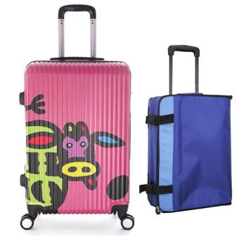 "Elite 20"" PC Hard Case Luggage + Foldable Trolley - Pink Cow Price Philippines"