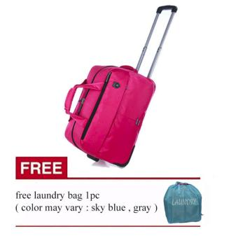 Elite Duffle Bag/Duffle Trolley (Pink) with FREE Laundry bag ( color vary )