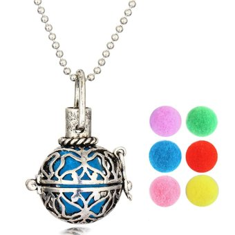 Essential Oil Diffuser Locket Necklace Pendant Jewelry with 6 Refill Balls Amazing Gift for Birthday Christmas - intl