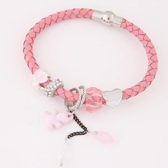 European and American leather bear crystal women's bracelet