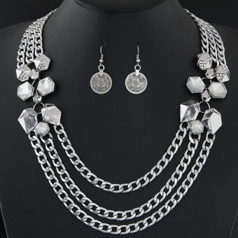 European and American metal multi-layer chain necklace