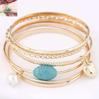 European and American metal multi-layer turquoise bracelet