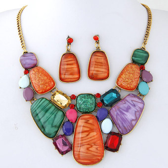 European and American style unique geometric exaggerated necklace