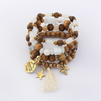 European and American tassled multi-elemntal star multi-layer bracelet