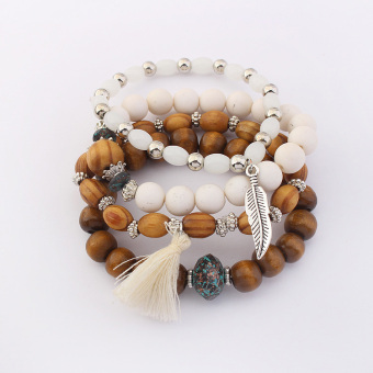 European and American tassled wooden bead leaves bracelet multi-layer bracelet