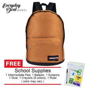 Everyday Deal Merletto School Backpack (Brown) with FREE School Supplies Price Philippines