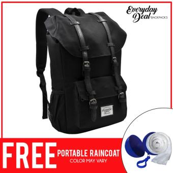 Everyday Deal Travel Laptop Backpack (Black) FREE Portable Raincoat