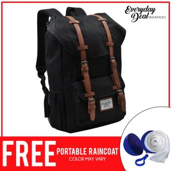 Everyday Deal Travel Laptop Backpack (Black/Brown) FREE PortableRaincoat