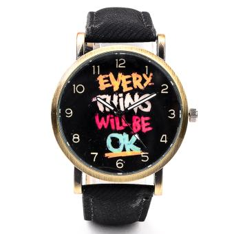Everything will be OK Denim Leather Strap Watch-Black
