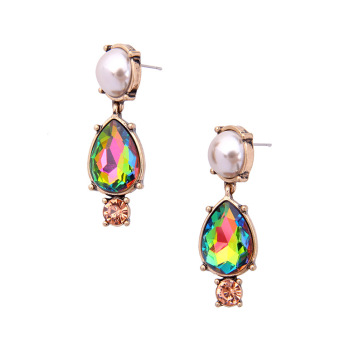 Exquisite European and American crystal New style glass drop earrings retro earrings
