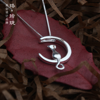 Exquisite s925 female Moon cat choker sterling silver necklace