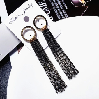 Famous Shishang black female elegant hanging earrings tassled stud
