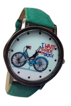Fancyqube Bicycle Pattern Unisex Green Leather Strap Watch