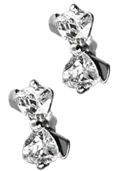 Fancyqube Bowknot Shaped Rhinestones Inlaid Earrings White
