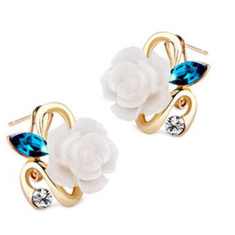 Fancyqube Gold Plated Rose Flower Earring White